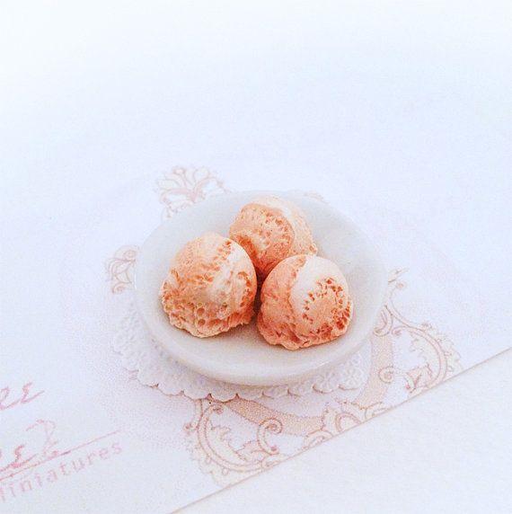 SALE 5x Orange Creamsicle Ice Cream Scoops by SucreSucreMiniatures, $2.25