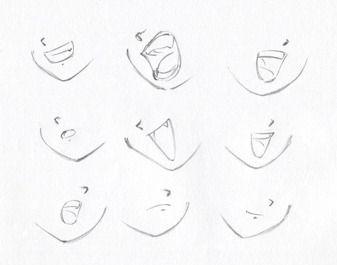 Depending On Anime Character Different Expression Mouths Lips Drawing Drawing Heads Manga Drawing