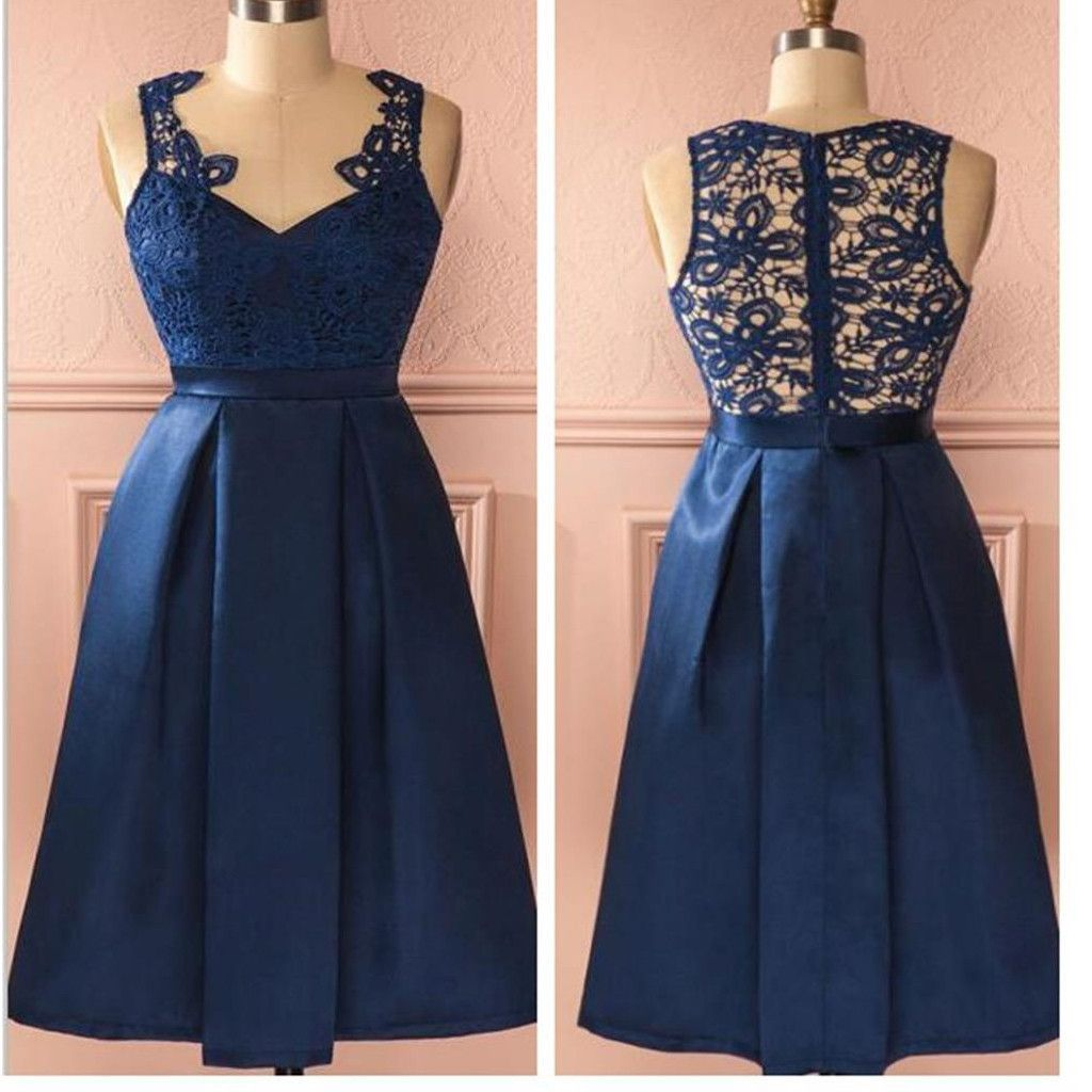Royal blue vintage lace see through homecoming prom dresses sf