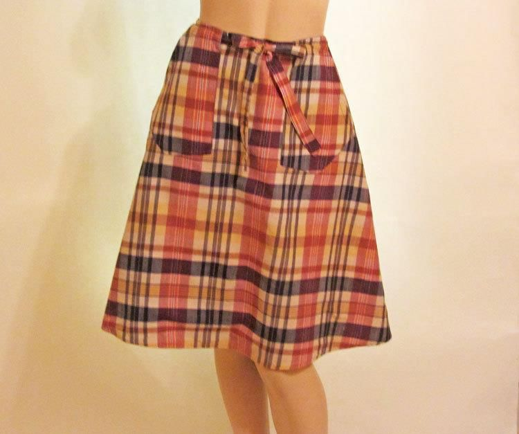 c884007a22 Vintage Madras Plaid Reversible Wrap Skirt S XS. Two trends in one; a  wrap-a-round skirt in madras.