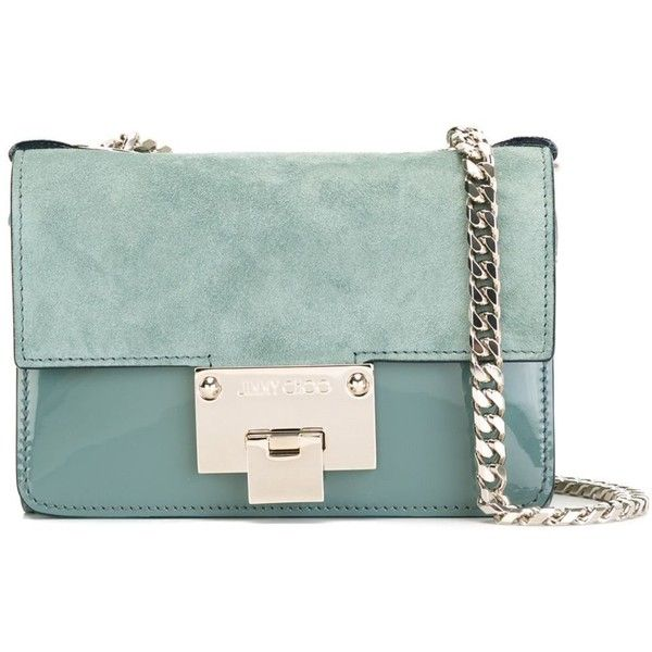 Jimmy Choo 'Rebel soft mini' bag (¥89,380) ❤ liked on Polyvore featuring bags, handbags, green, jimmy choo handbags, mini handbags, green patent leather handbag, green purse and patent leather purse