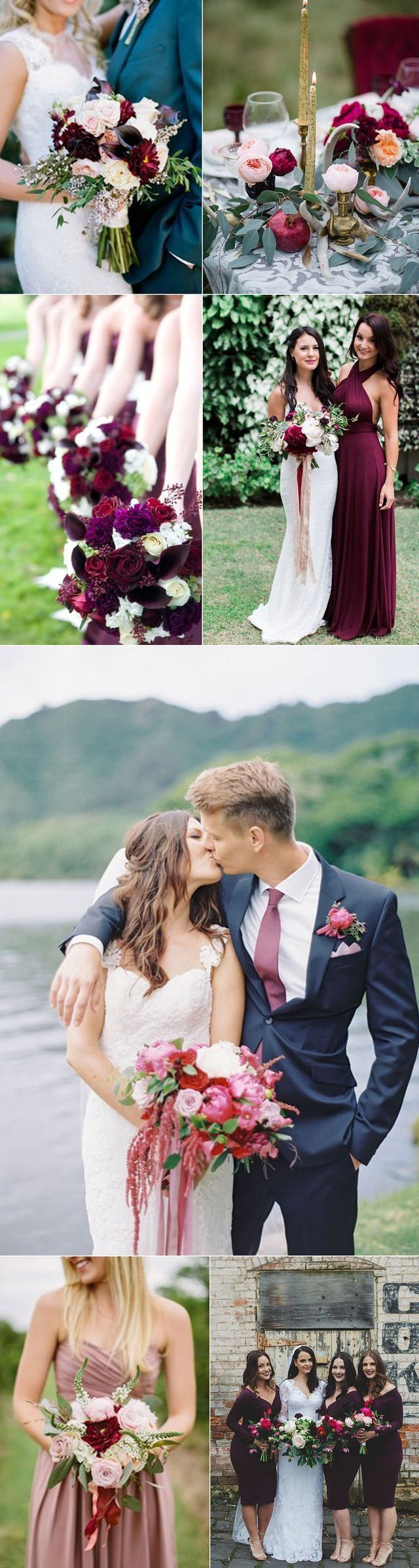 25 swoon worthy spring amp summer wedding bouquets tulle amp chantilly - Maroon Wedding Color