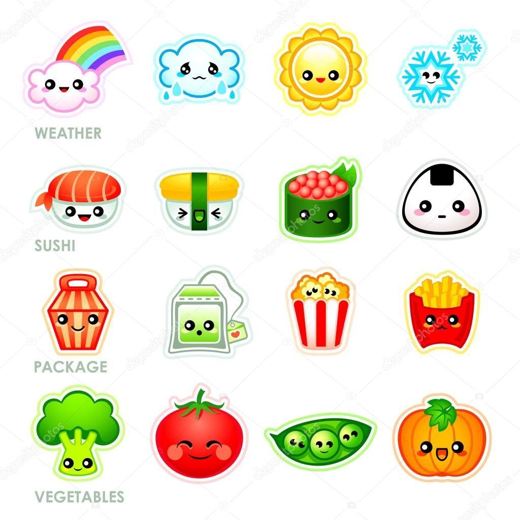 Descargar Stickers Kawaii Juego Ii Ilustracion De Stock
