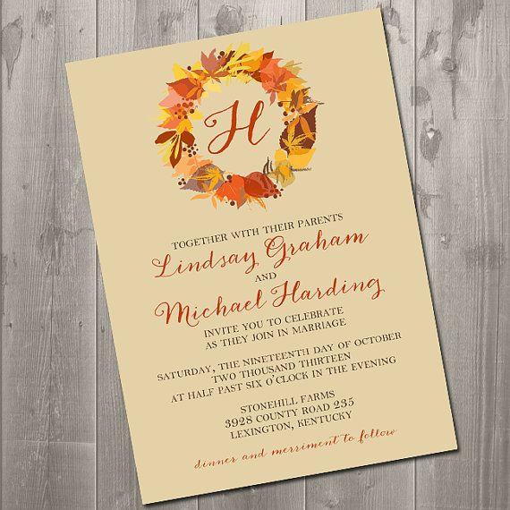Autumn Wreath Wedding Invitation