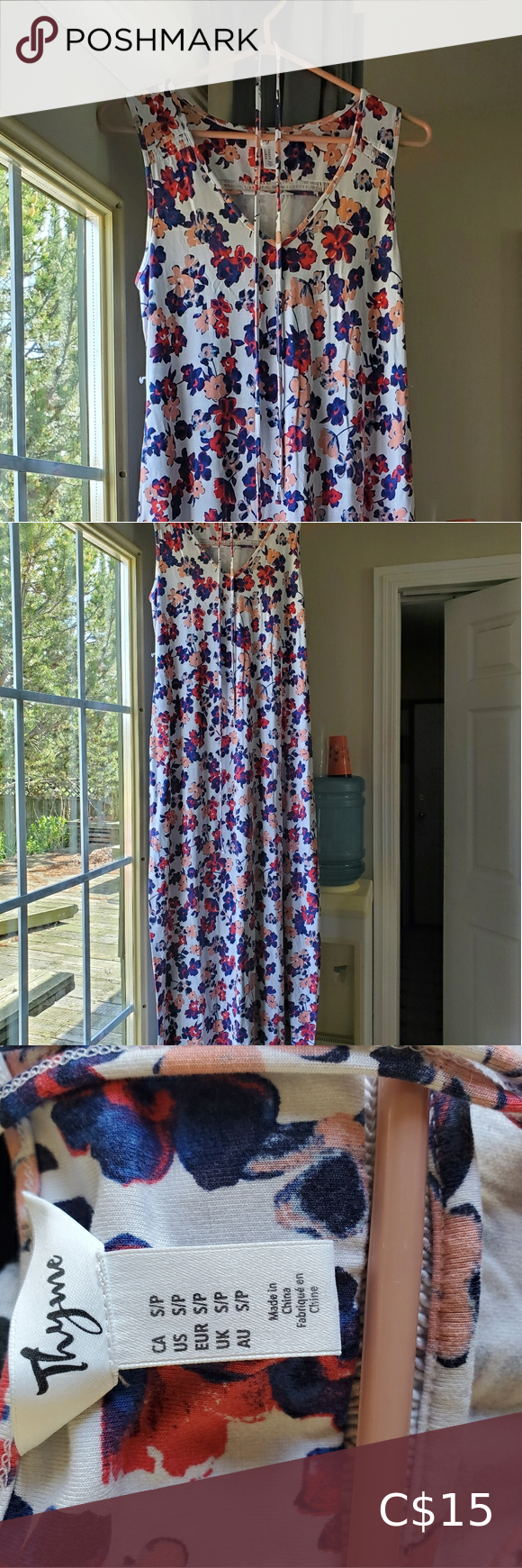 Thyme Maternity Maxi Dress Thyme Maternity floral maxi dress, size small. Super soft and