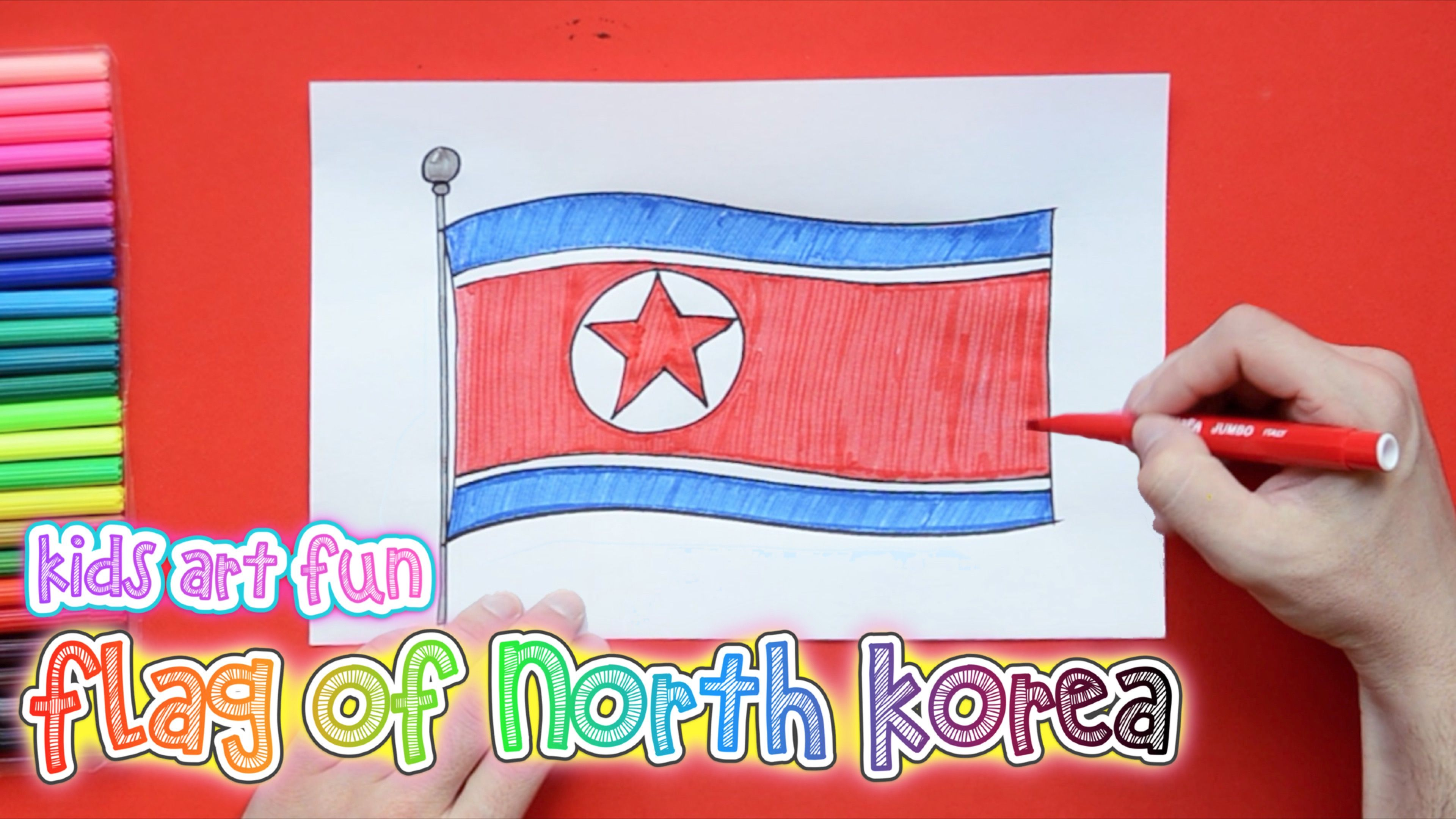 How To Draw And Color National Flag Of North Korea Flag Drawing National Flag Art For Kids