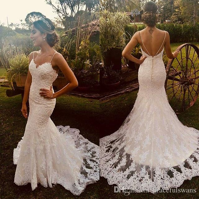 Spaghetti Straps Mermaid Wedding Dresses Sweetheart Lace