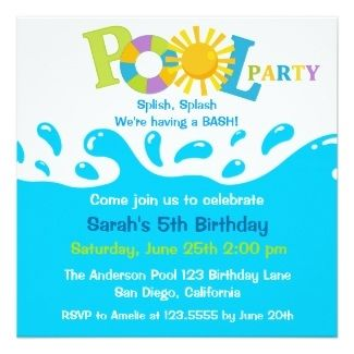 Pool Party Invitation Swim Poolparty Fun  Addys Party