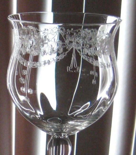 Antique Bryce Crystal Wine Glasses Needle Etched Tulip Bulb Crystal Wine Glasses Etched Glassware Wine Glasses