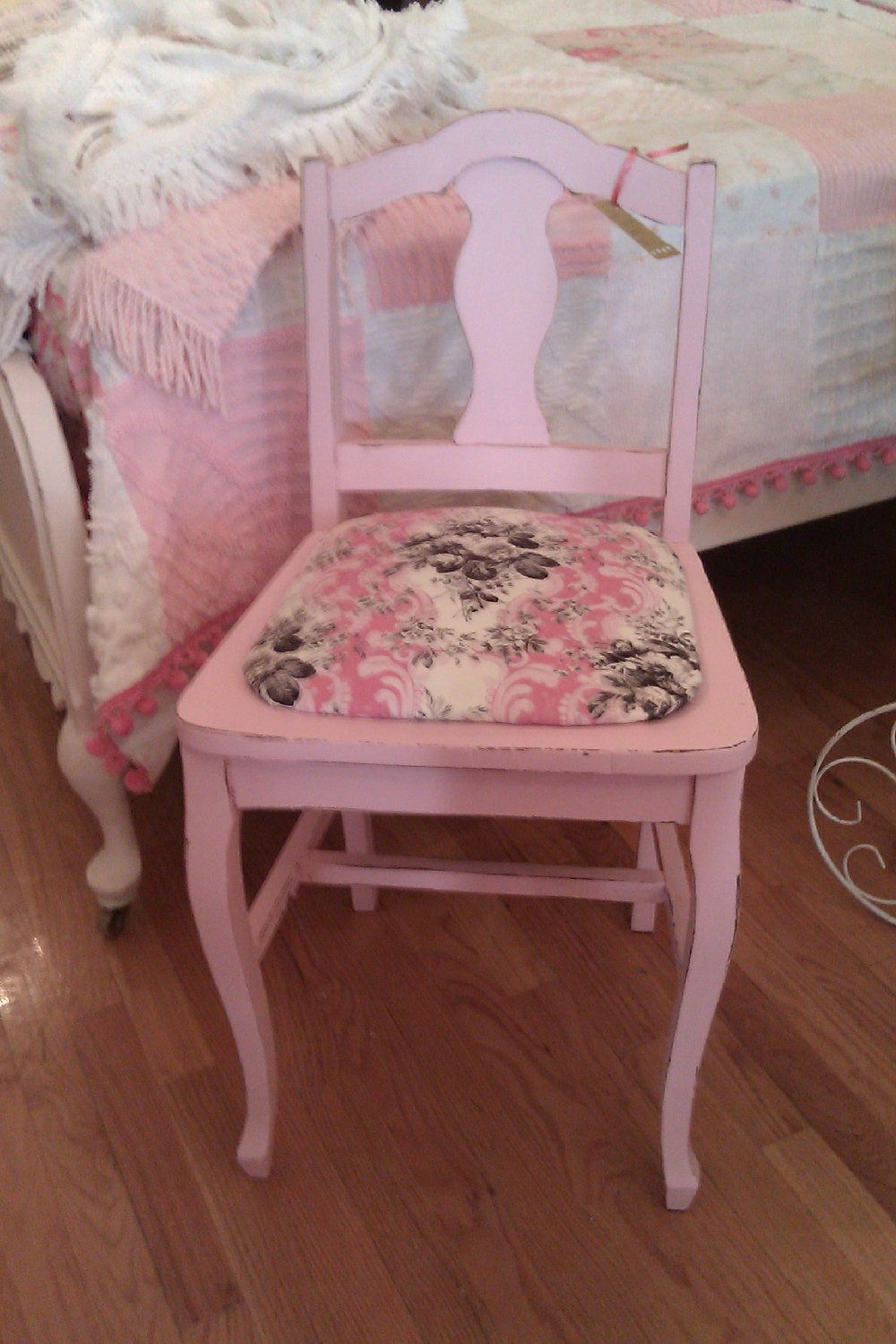 Shabby Chic Pink Vanity Chair Distressed Antique Roses Hot Pink Black Cottage Prairie 165 00 Vi Shabby Chic Bedroom Chair Black Shabby Chic Shabby Chic Room