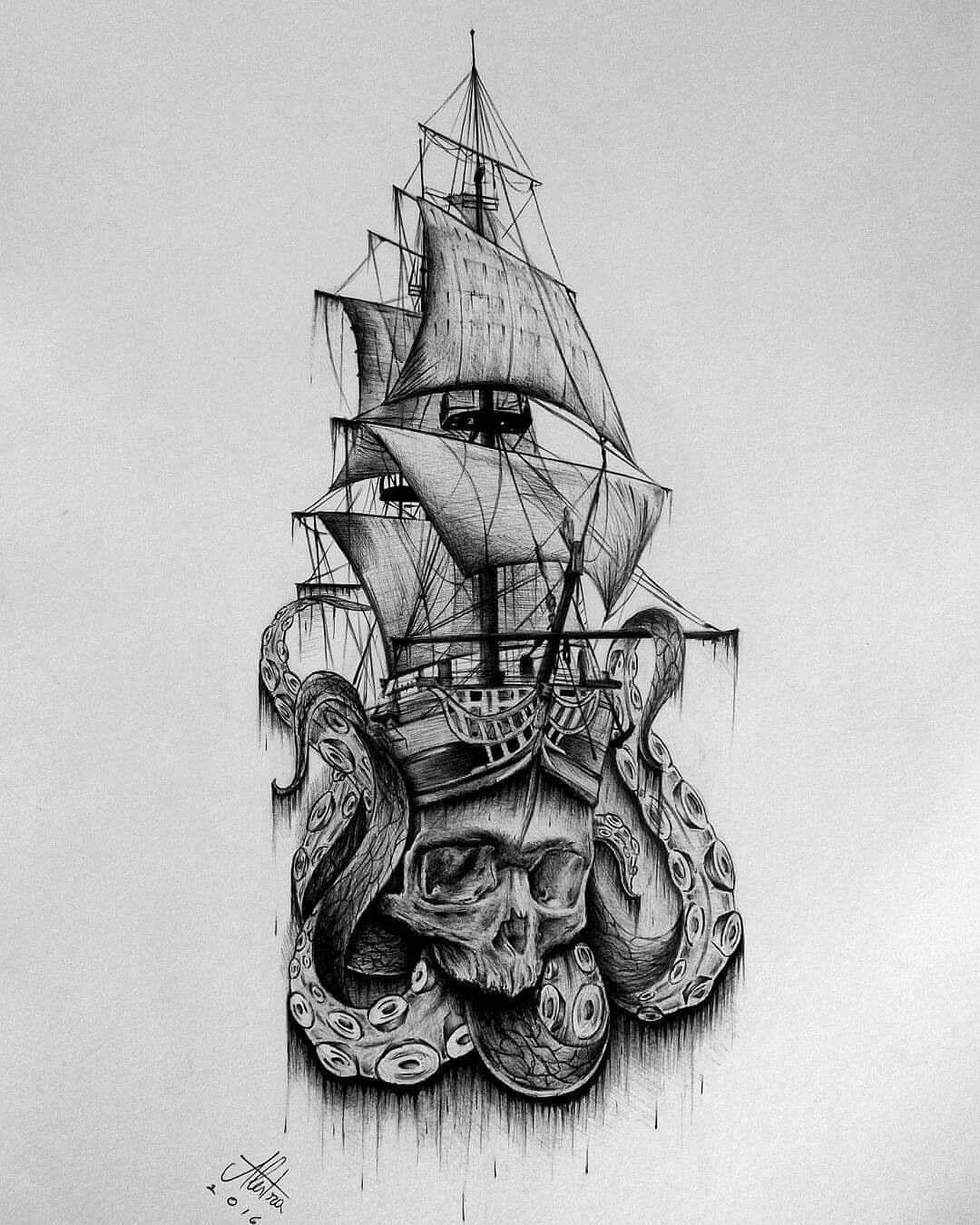 Pirate Ship Tattoo Design: Tatuaje Pirata, Tatuajes Náuticos Y Tatuaje Kraken