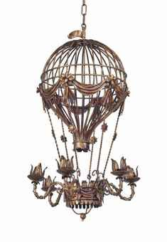 A wrought iron montgolfier balloon chandelier late 20th century a wrought iron montgolfier balloon chandelier late 20th century the basket base with aloadofball Choice Image