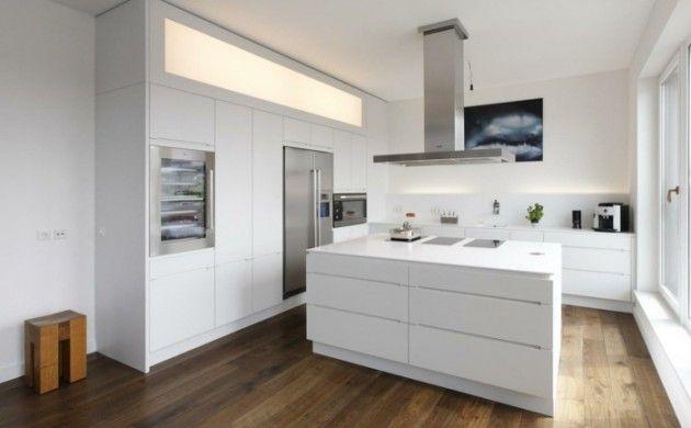 wohnideen küche moderne kücheninsel bodenbelag holzoptik | Living ...