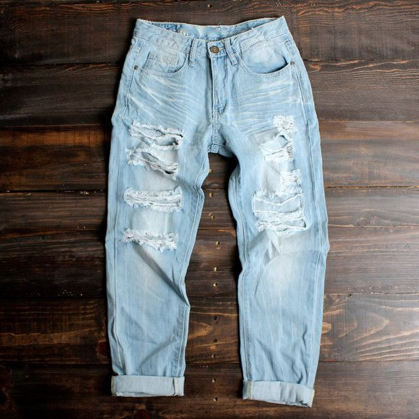 Light vintage wash distressed boyfriend jeans | Vintage inspired ...