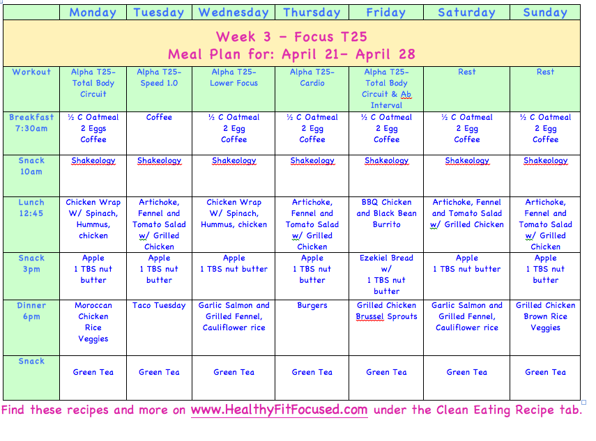 Meal Plans  Clean Eating Meal Plan T WwwHealthyfitfocusedCom