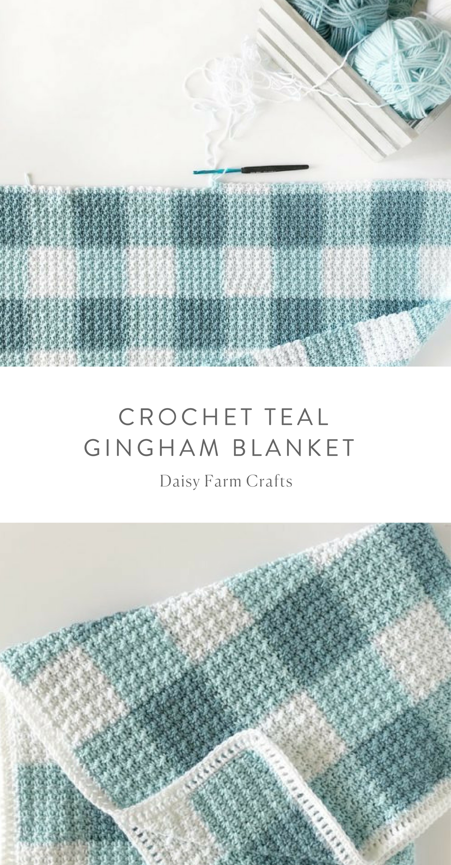 Free Pattern - Crochet Teal Gingham Blanket | _Crochet Decor 15 ...