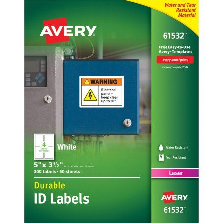 Avery Permanent Durable ID Labels with TrueBlock Technology, White