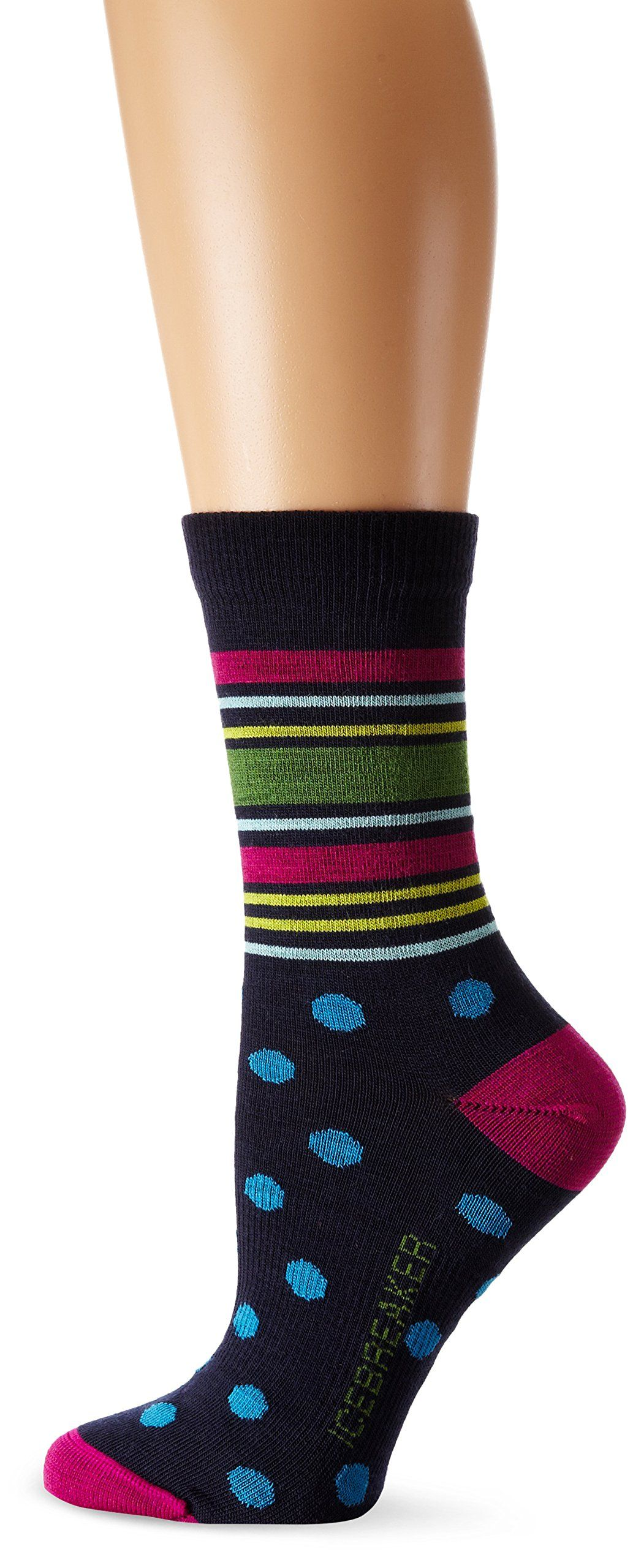 293043c012 Icebreaker Women's Lifestyle Ultra Light 3Q Crew Socks, Small,  Admiral/Magenta/Cruise