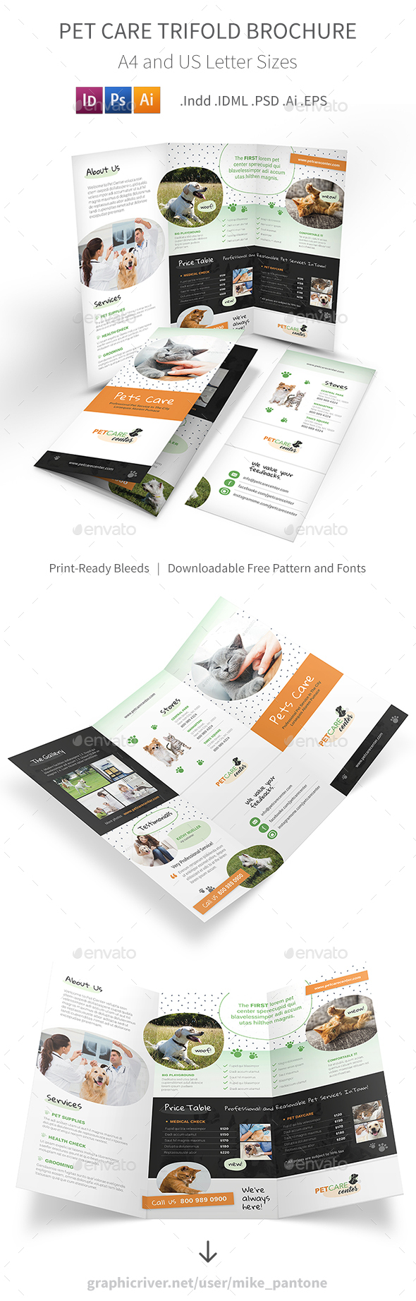 Pet Care Trifold Brochure Template Psd Vector Eps Indesign Indd