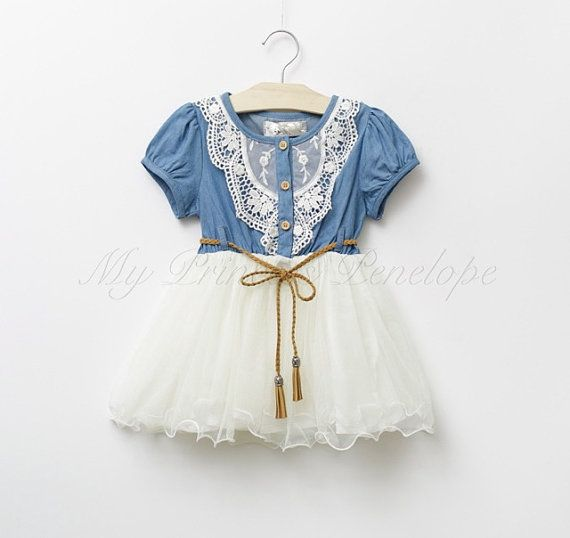 0015900191 Online Cheap Baby Girl Kids Lace Dress Denim Dress Flower Floral Tutu Dress  Vintage Princess Jumper Wave Ruffle Zig Zag Crochet Embroidery Waistband 5  By