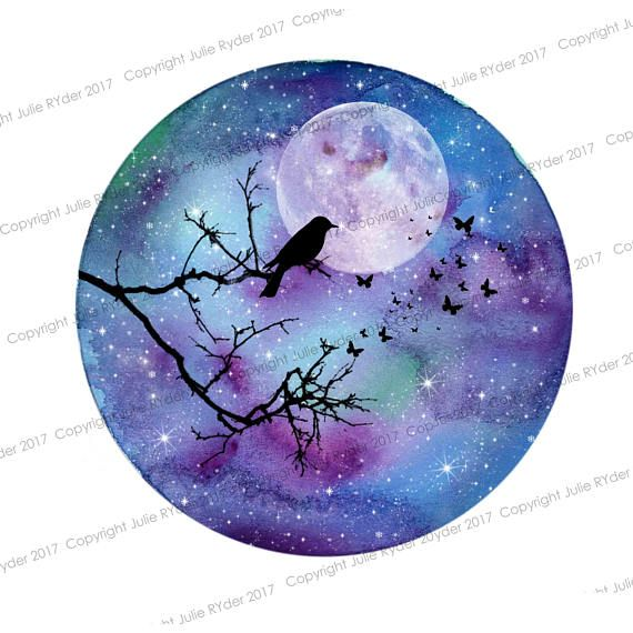 Watercolour Print Blues, Purples with Bird sitting on Tree Branch, Buttterflies and moon. 8 x 8 inch and 21 x 12 i nch #craftsaleitems