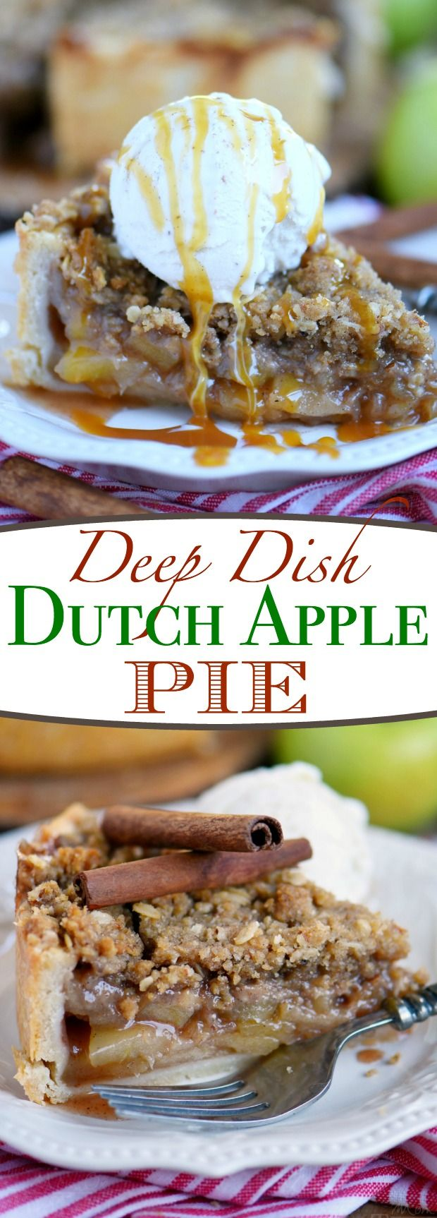 Deep Dish Dutch Apple Pie is loaded with a spiced apple filling and topped with a crunchy, sweet, pecan streusel topping. Best served with a big scoop of vanilla ice cream and caramel sauce. This is THE dessert for the fall season! | Mom On Timeout #applerecipes