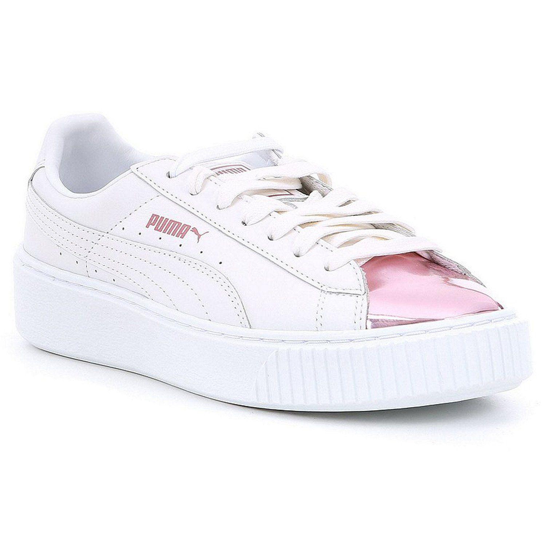 PUMA Basket Platform Metallic Women | White / Lilac Snow (366169-04)