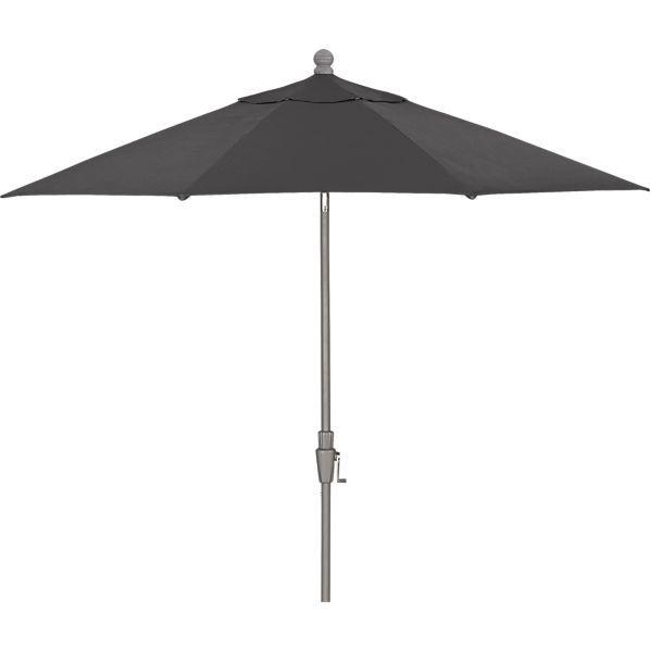 9\' Round Sunbrella ® Charcoal Patio Umbrella with Tilt Silver Frame ...