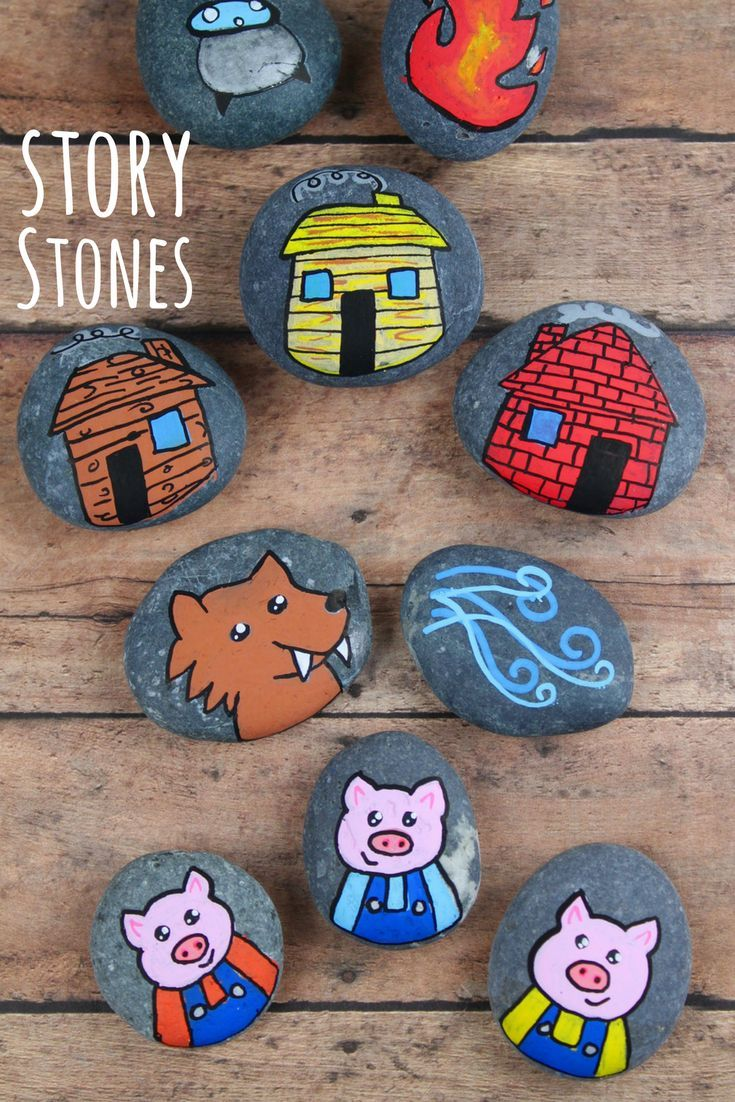 3 Little Pigs Story Stones is part of Little pigs, Story stones, Painted rocks kids, Rock painting tutorial, Pig painting, Three little pigs story - These 3 Little Pigs story stones are perfect for retelling and reading comprehension  Using flat rocks and paint pens, these are simple to make! Story stones are an excellent tool to help with reading comprehension  Using story stones allows for kids to retell a story, a very important component