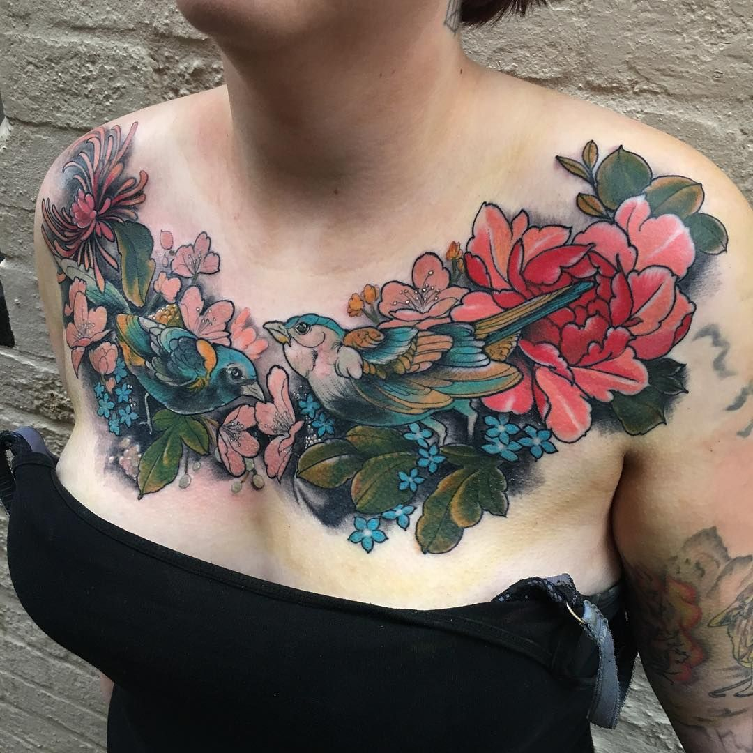 Finished this chest cover up today all black healed