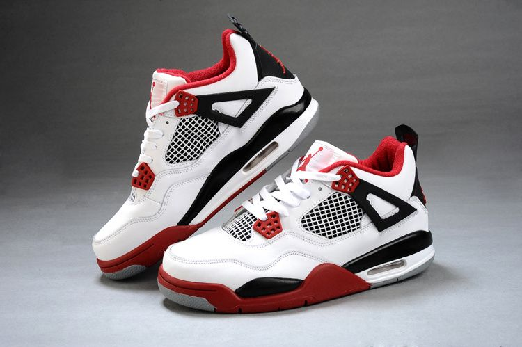 Air Jordan 4 Retro White Cement Mens Shoes Engraved Red Online