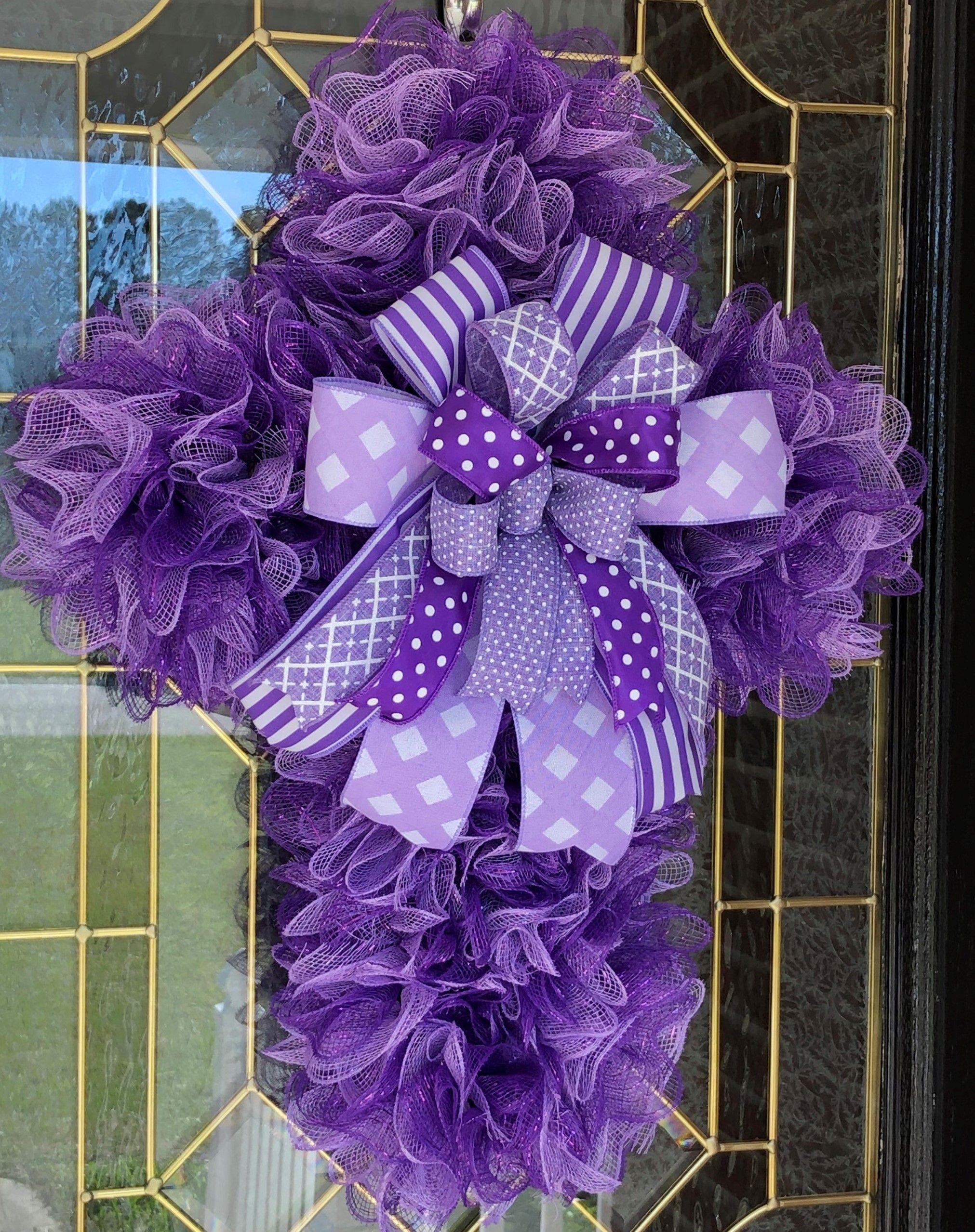 Purple Cross in 2020 Cross wreath, Door wreath hanger