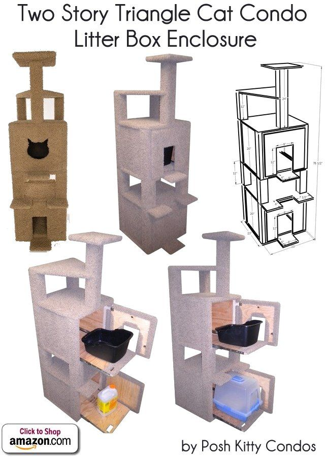 Two Story Triangle Cat Condo And Litter Box Enclosure By Posh