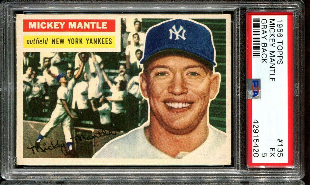 1956 Topps 135 Mickey Mantle Psa 5 Hof New York Yankees Mickeymantle Newyorkyankees Sportcards Mickey Mantle Baseball Cards New York Yankees