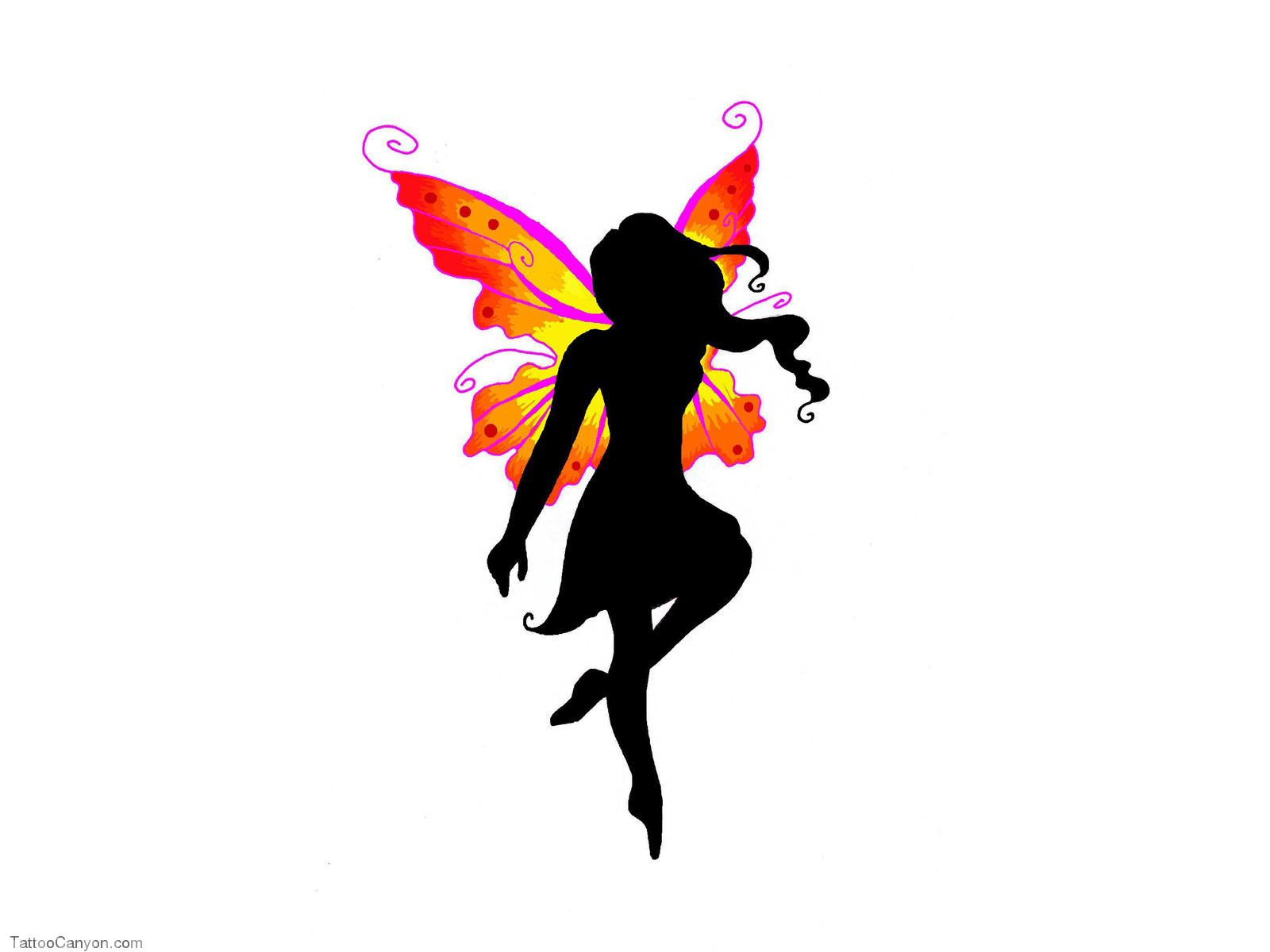Fairies tattoos designs - Free Designs Black Fairy With Colored Wings Tattoo Wallpaper Picture 4196