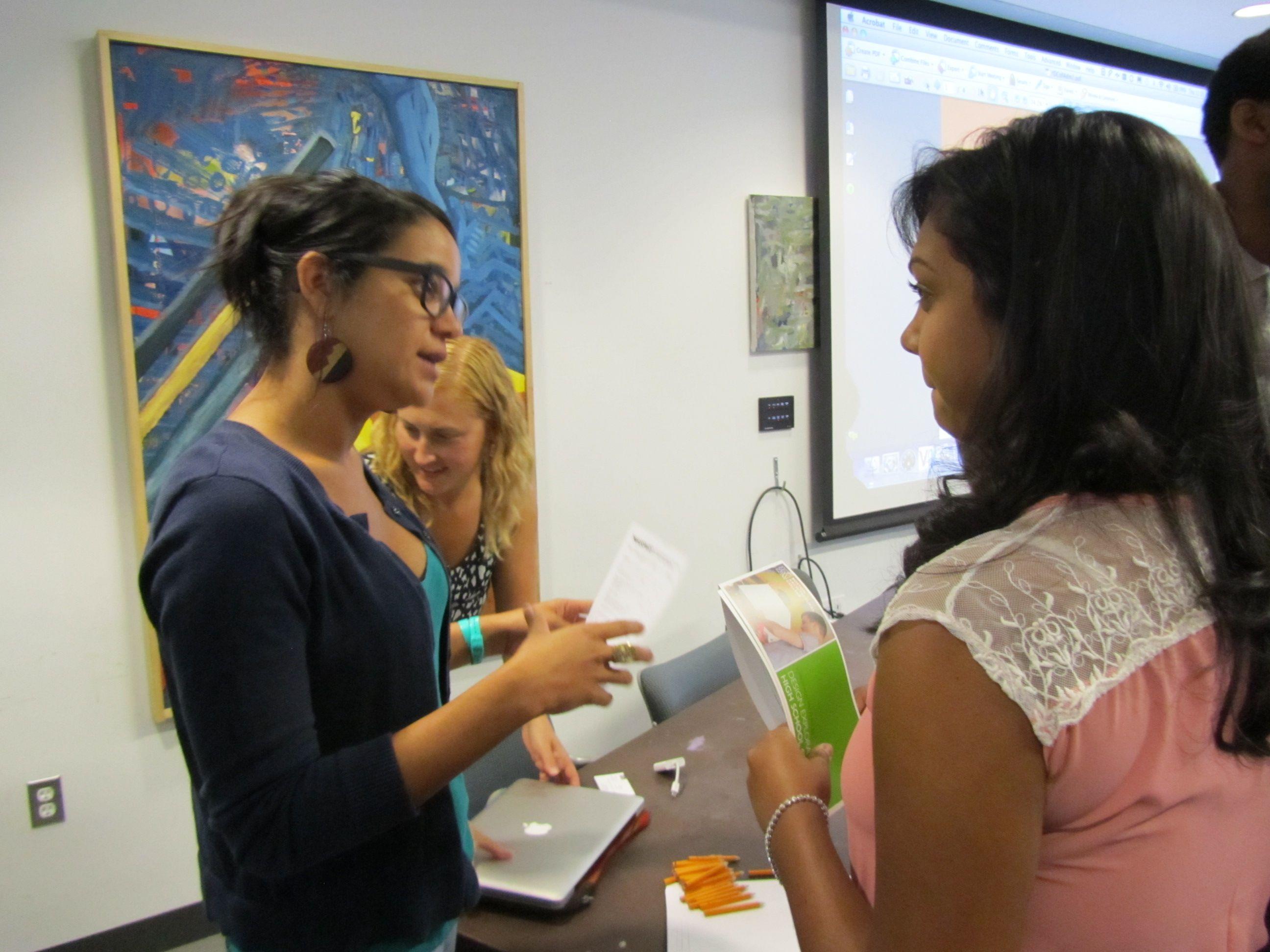 Angela Jones from MassArt talks w/ Christina (with Kate