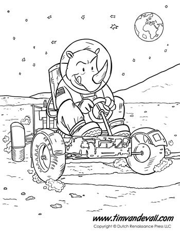 Animals In Space Coloring Page For Kids A Rhinoceros