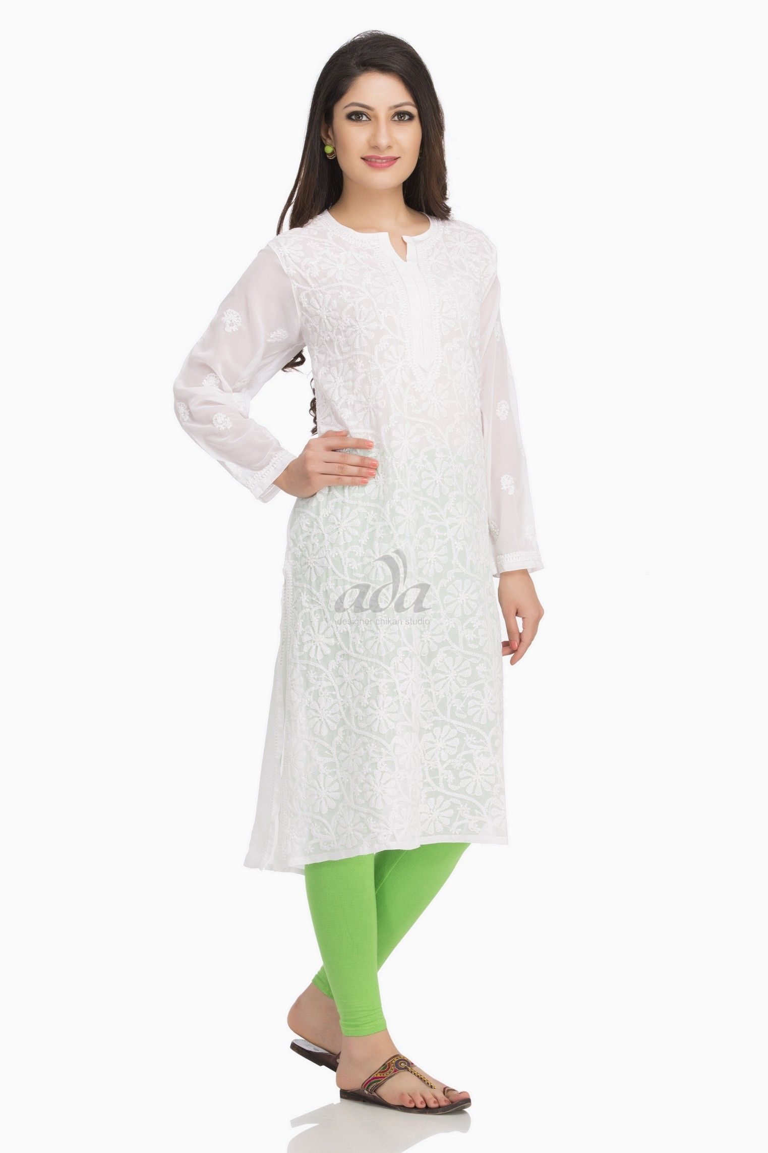 2a1dae1ae Ada Hand Embroidered White Faux Georgette Lucknow Chikankari Kurti - A95485  Price Rs.1