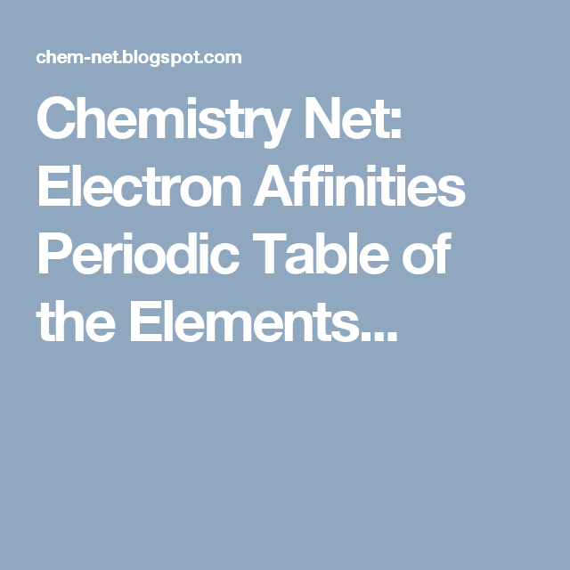 Chemistry Net Electron Affinities Periodic Table Of The Elements