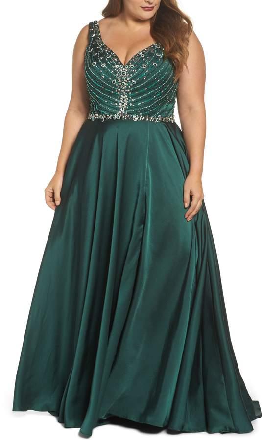 87034b1edeae Plus Size Women's MAC Duggal Beaded Bodice Gown, Size 18W - Blue in ...