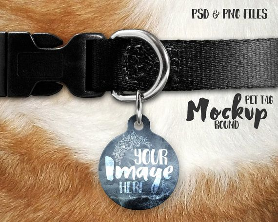 Round Pet Tag On A Dog Collar Mockup Template Add Your Own Etsy Pet Tags Pets Business Card Logo