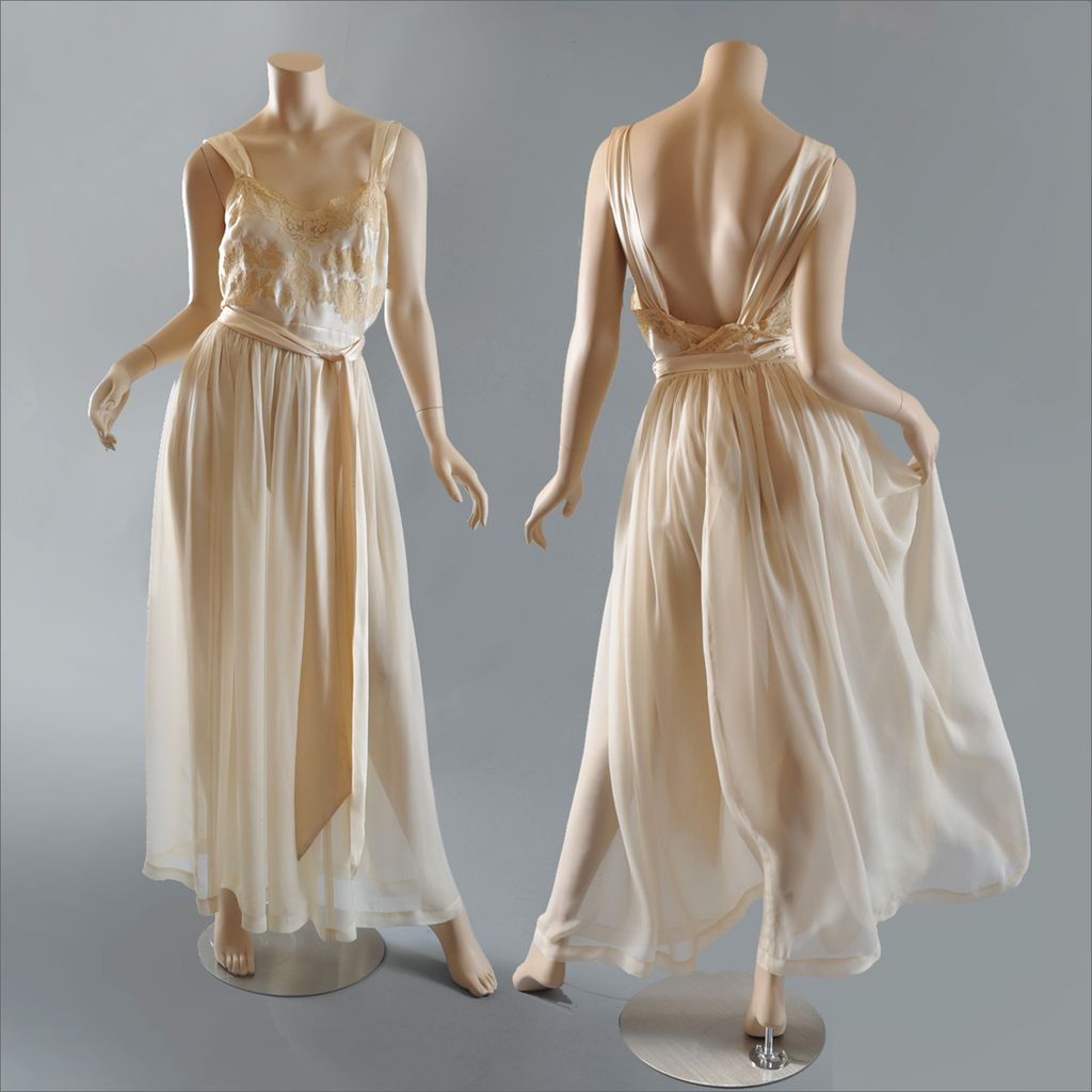 Appliques Vintage 1940s 1950s Silk Chiffon Negligee Silk Charmeuse And Lace
