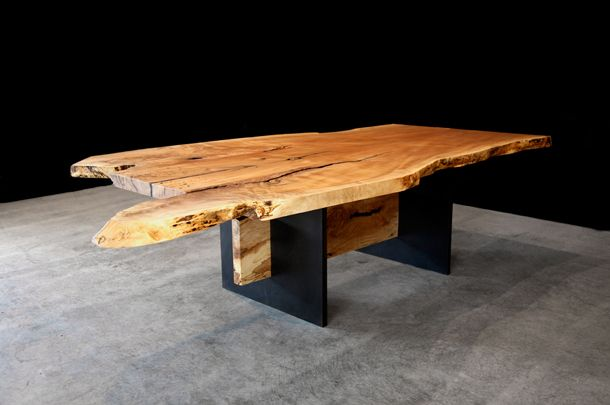 Maple Dining Table With Steel Legs And Maple Support Beam Wood