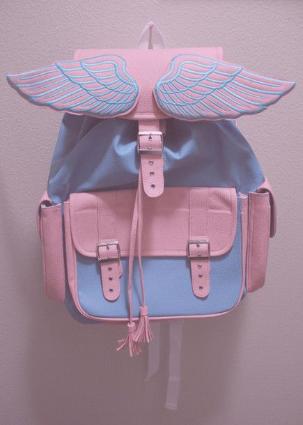 Bag Angel Bagpack Pink Blue Pastel Wings Book Backpack And Colors Boho Light Cute Grunge Babypink Baby
