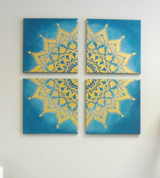 Create Custom Canvas Artwork Using A Mandala Stencil Craft Ideas