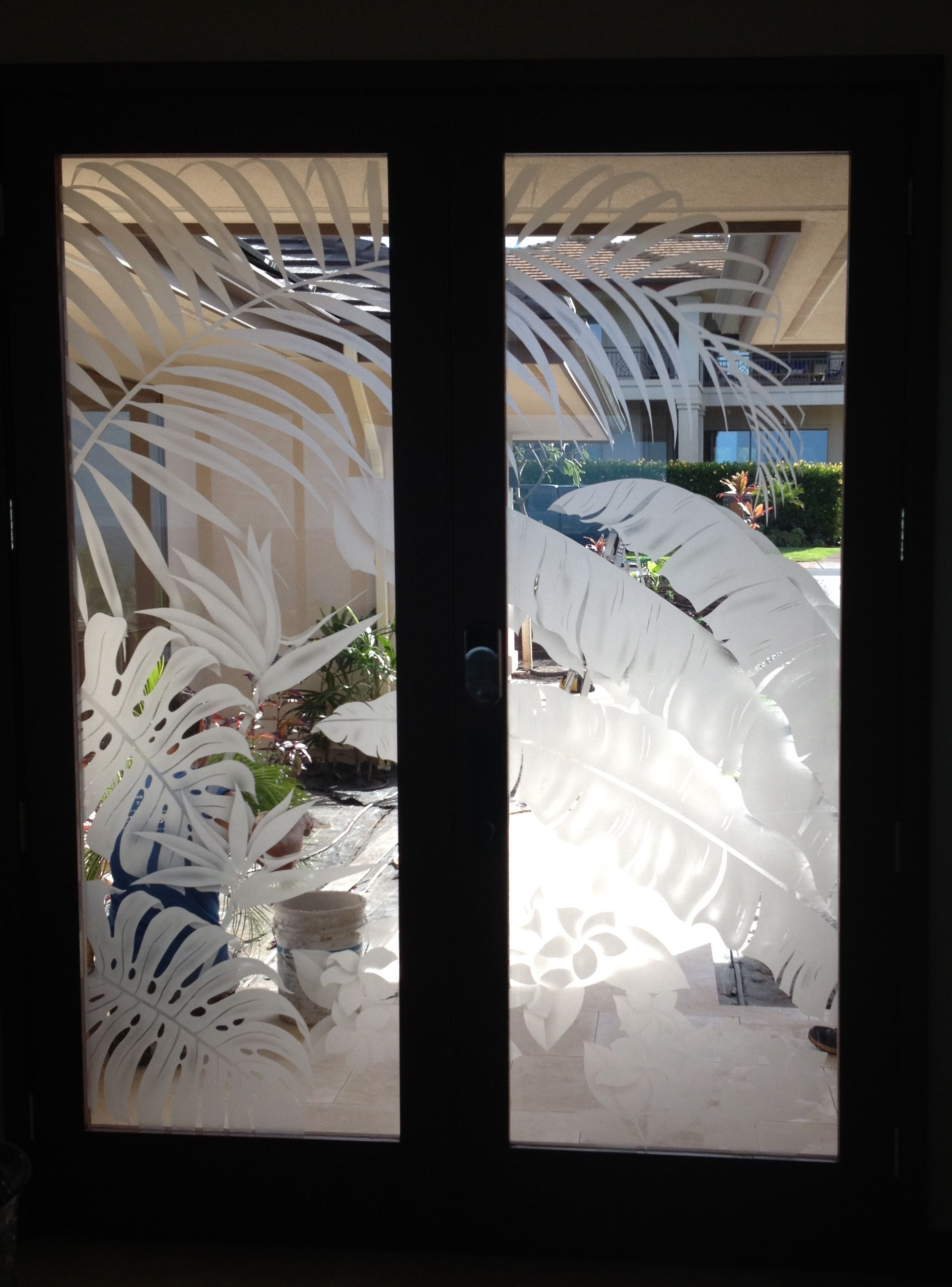 Spectacular Set Of Etched Glass Doors W/ A Tropical