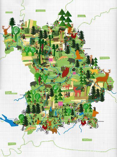 wald deutschland karte JULIA PFALLER   Illustrierte karten, Deutschlandkarte, Stadtplan