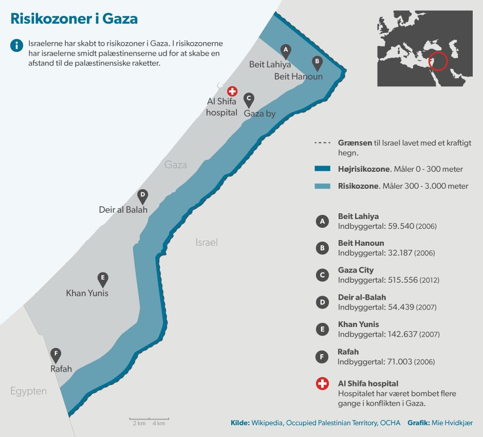 Israel har inddraget knap 40 procent af Gaza-striben. Se kort over det samt byer og bombemål