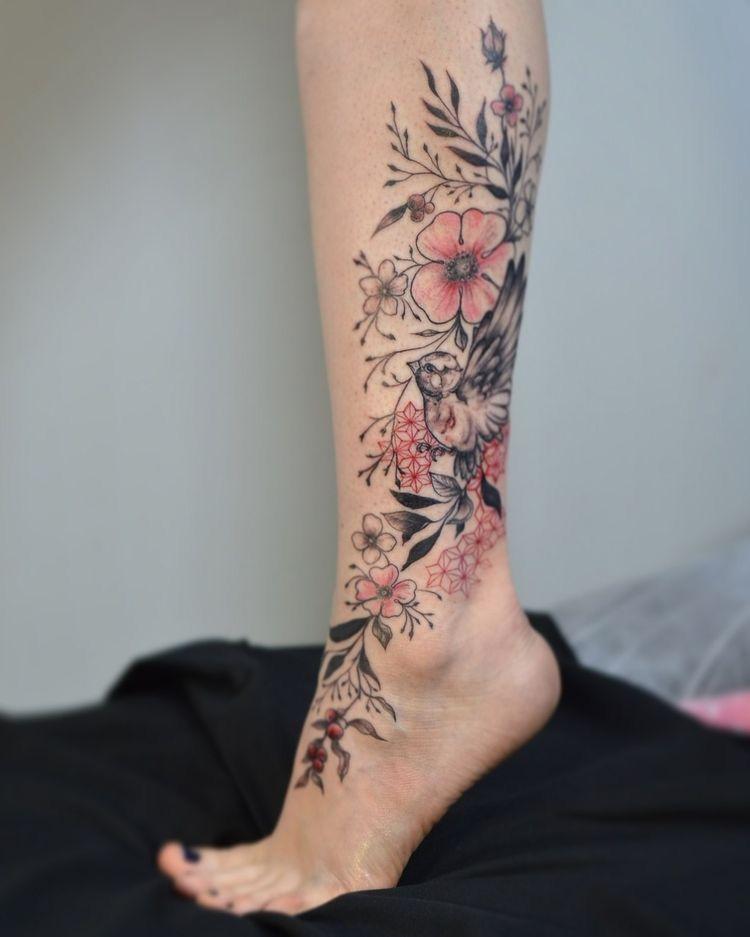 Concept girl leg tattoos calf tattoos for women leg