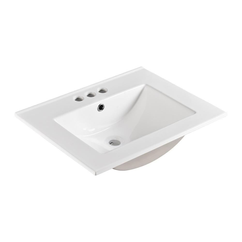Bellaterra Home Serik 24 In Drop In Ceramic Bathroom Sink In White Sink Ceramic Sink Bathroom Sink Tops